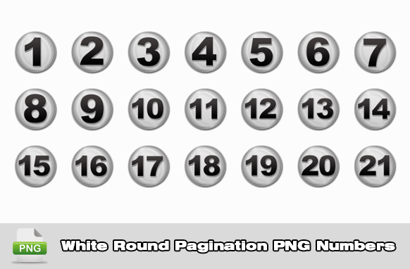 White Round Pagination PNG Numbers