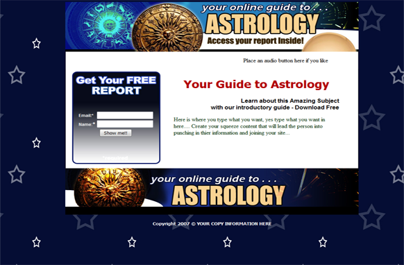 Astrology HTML PSD Squeeze Page Template