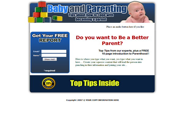 Baby and Parenting HTML PSD Squeeze Page Template