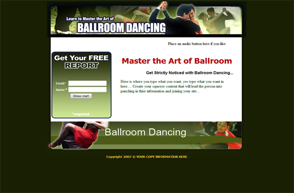 Ball Room Dancing HTML PSD Squeeze Page Template