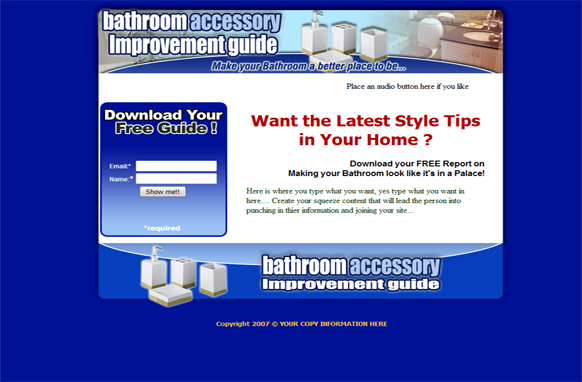 Bathroom Accessory HTML Squeeze Page Template