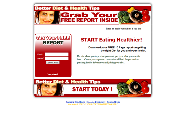 Better Diet and Health Tips HTML PSD Squeeze Page Template