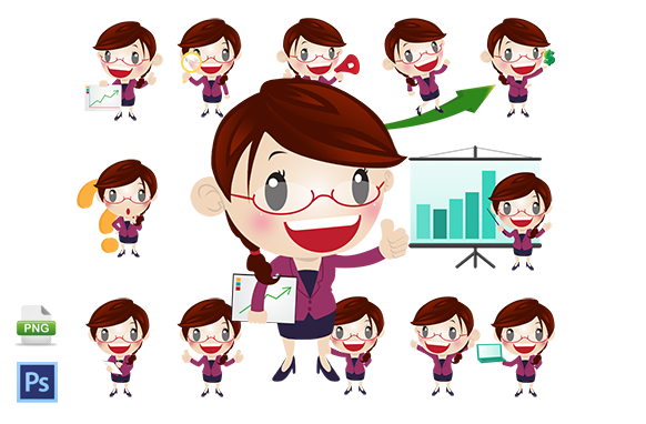 13 PSD PNG Business Woman Mascots