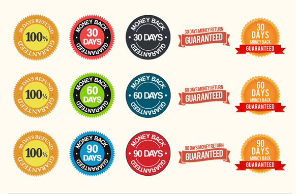 Iron Clad Guarantee Seals Set  PSD PNG