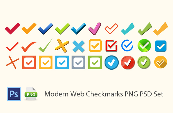 Modern Web Checkmarks PNG PSD Set