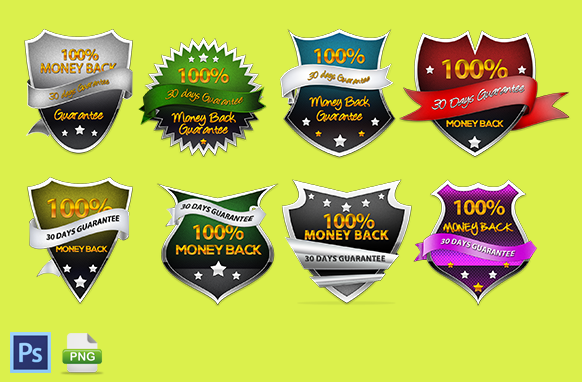 Money Back Guarantee Badge Design Collection In PSD and PNG