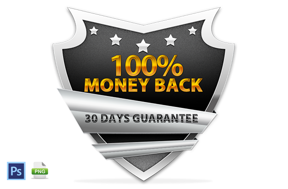 Money Back Guarantee Badge Design In PSD and PNG Style 1