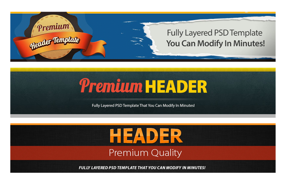 Premium Website PSD Banners and Headers