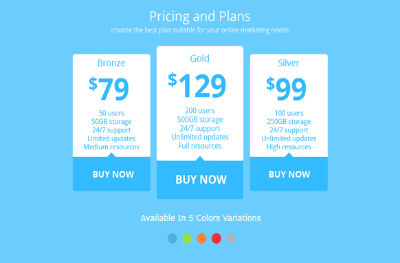 Pricing Plan Tables In PSD Style 4