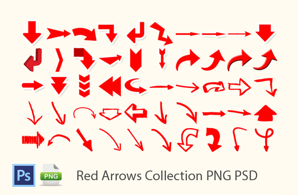 Red Arrows Collection PNG PSD