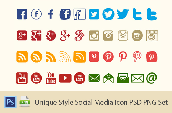 Unique Style Social Media Icon PSD PNG Set