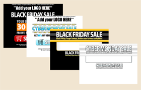 4 Black Friday PSD HTML Sale Headline Templates Set