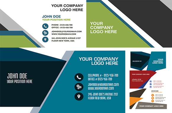 7 Slant Inspired Corporate PSD Business Cards Templates Collection