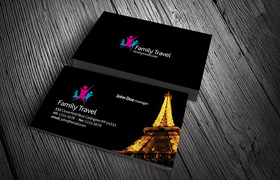 Family Travel Business Card PSD Template