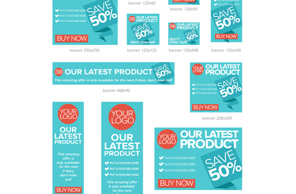 Flat Design PSD Advertising Banner Templates