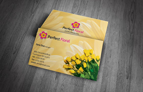 Floral Business Card PSD Template