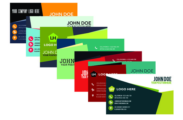 8 Modern Inspired Business Cards PSD PNG Templates