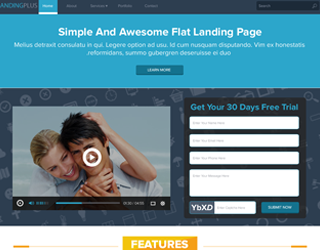 Simple and Awesome Flat Landing Page WordPress Theme