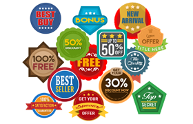 Flat Shaded PSD PNG Badges