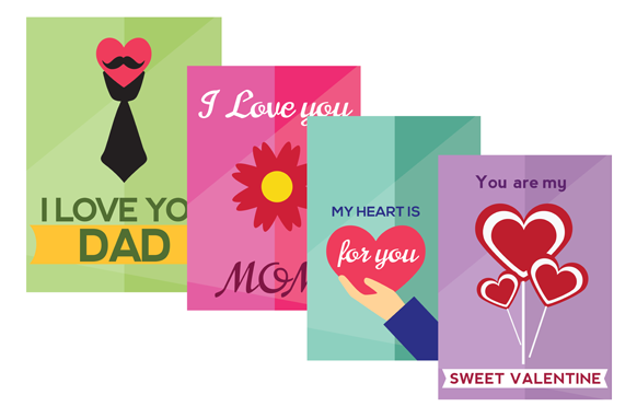 Happy Valentines Day My Love AI PSD PNG Posters Set