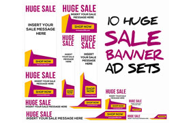 Huge Sale Advertising PSD PNG Banners