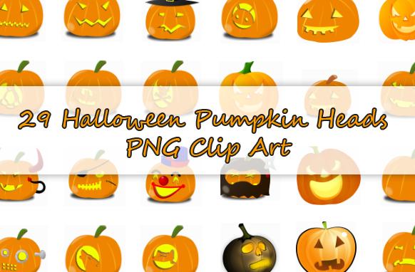 29 Halloween Pumpkin Heads PNG Clip Art
