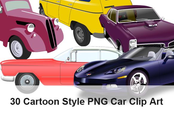 30 Cartoon Style PNG Car Clip Art
