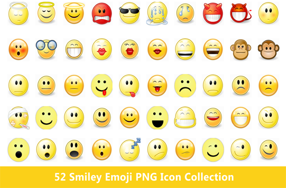 52 Smiley Emoji PNG Icon Collection