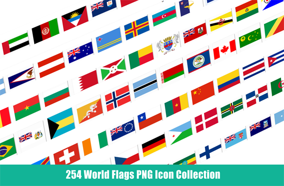 254 World Flags PNG Icon Collection