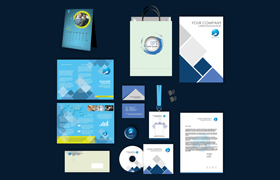 Blue Cool Print Design Template