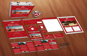 Red Castle Print Design Template